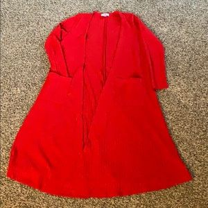 Small LuLaRoe Red Ribbed Sarah Duster